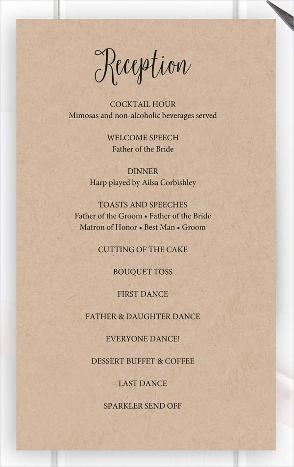 Wedding Reception Program Example Beautiful 8 Wedding Party Program Templates Psd Vector Eps Ai