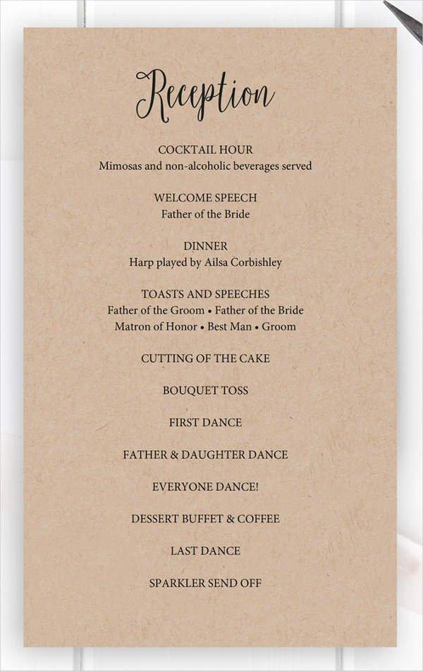 Wedding Reception Program Example Beautiful 8 Wedding Party Program Templates Psd Vector Eps Ai