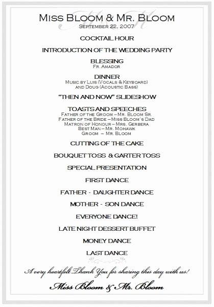 Wedding Reception Program Example Elegant Best 25 Wedding Reception Program Sample Ideas On