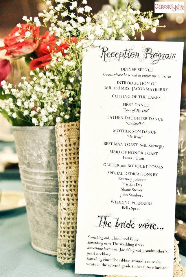 Wedding Reception Program Example Elegant Reception Program with Decorations