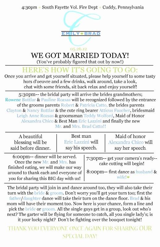Wedding Reception Program Example Inspirational Reception Prgram