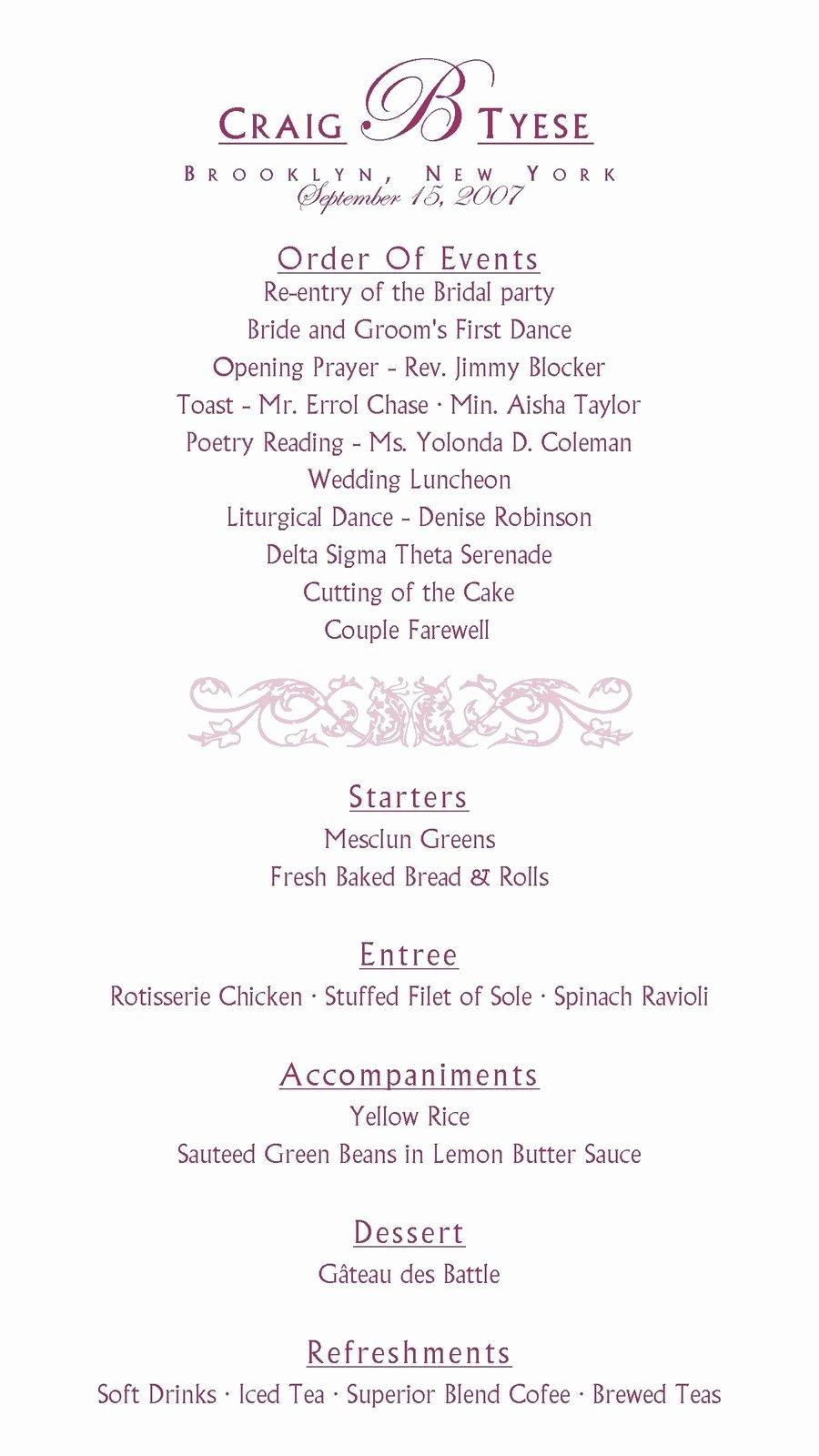 Wedding Reception Program Example Inspirational Sample Reception Program Wedding Bells