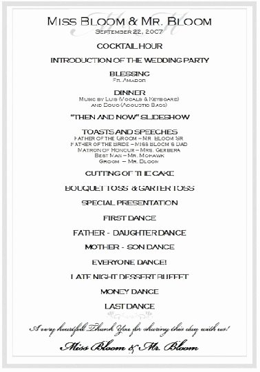 Wedding Reception Program Example Lovely Sample Wedding Reception Program Ceremony