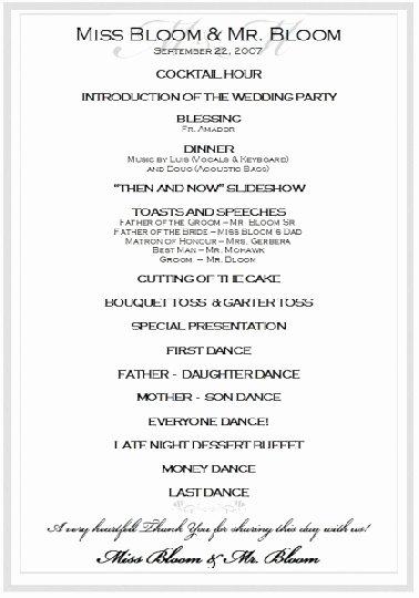 Wedding Reception Program Example Lovely Sample Wedding Reception Program Ceremony