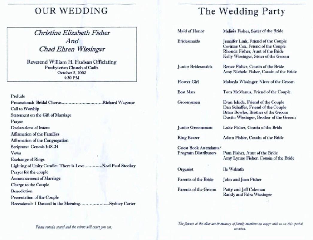 Wedding Reception Program Example Lovely Wedding Reception Program Template