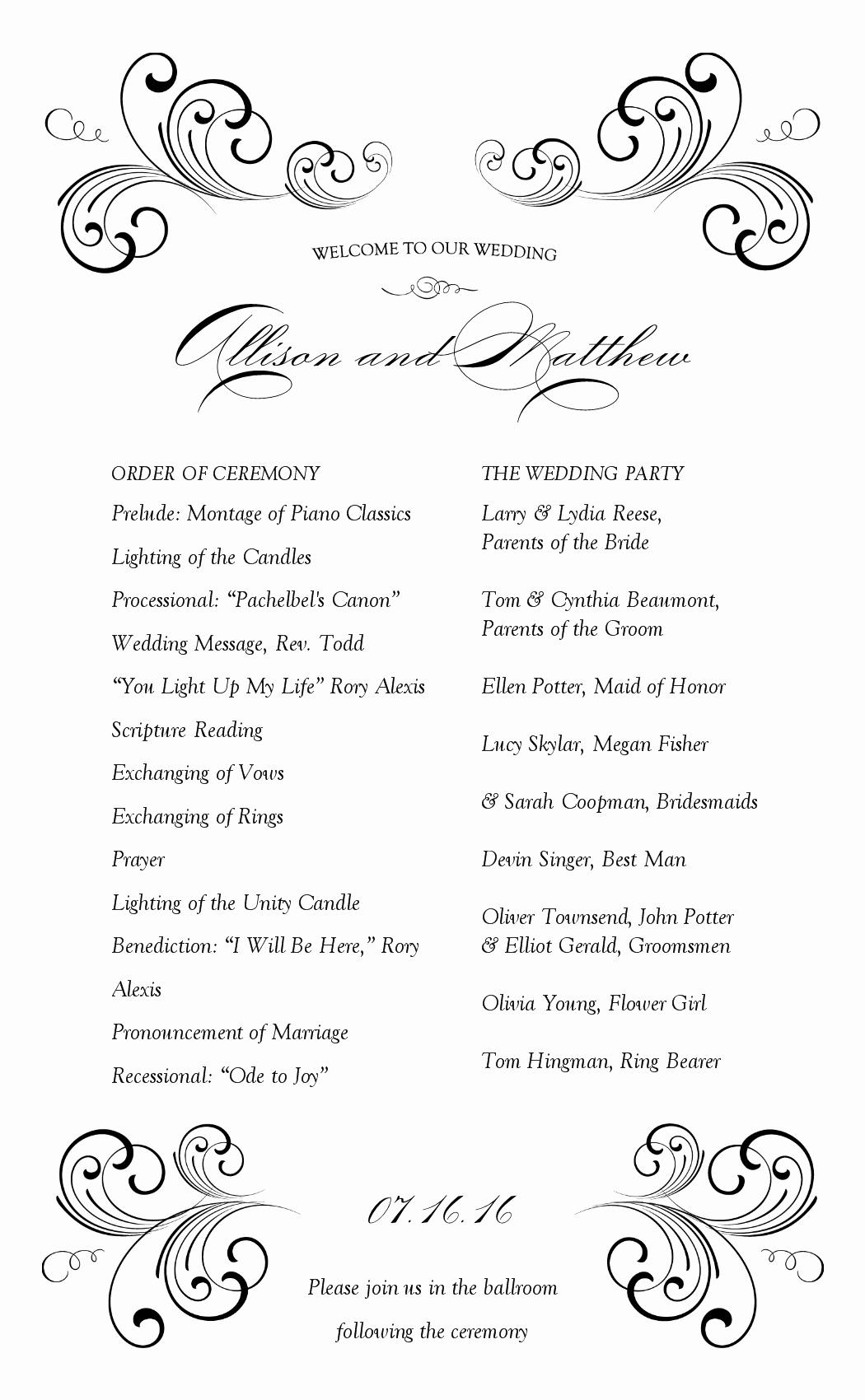 Wedding Reception Program Example Luxury Sample Wedding Programme at the Reception