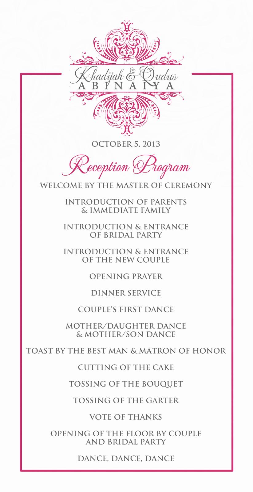 Wedding Reception Program Example Unique Signatures by Sarah Wedding Stationery for Khadijah