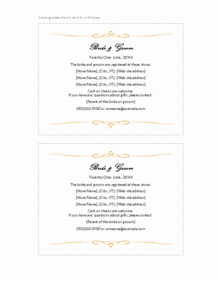 Wedding Registry Cards Template Awesome Download Free Printable Invitations Of Registry Cards