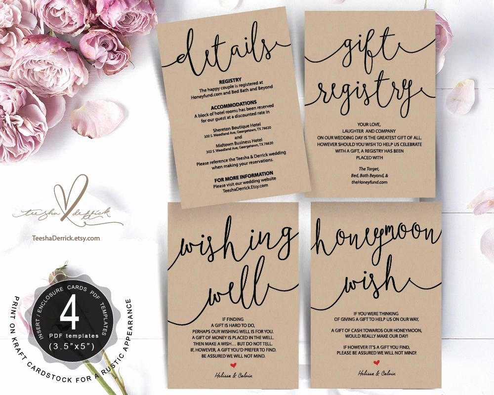 Wedding Registry Cards Template Beautiful Wedding Insert Cards Pdf Template Instant T