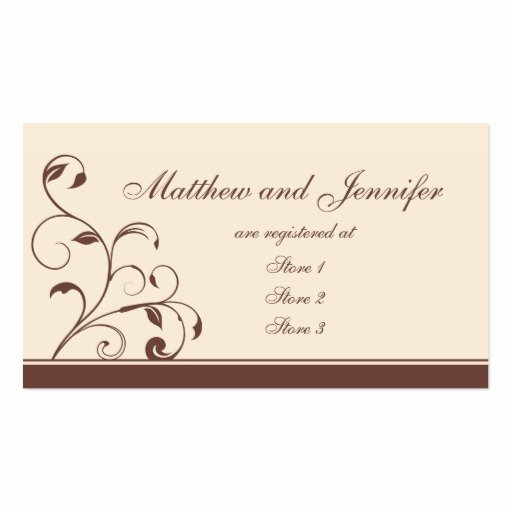Wedding Registry Cards Template Best Of Brown Swirls and Curls Wedding Gift Registry Cards