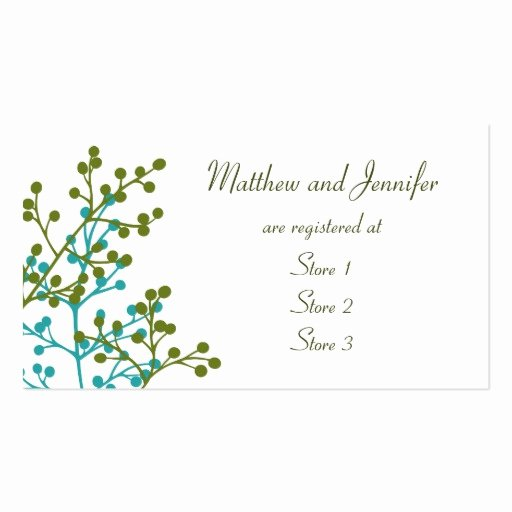 Wedding Registry Cards Template Elegant Custom Wedding Gift Registry Cards Double Sided Standard