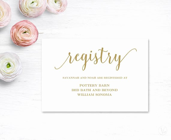 Wedding Registry Cards Template Elegant Gold Gift Registery Card Template Printable Wedding Registry