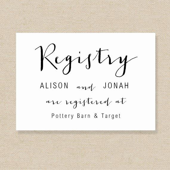 Wedding Registry Cards Template Elegant Wedding Registry Card Template Gift List Printable Gift
