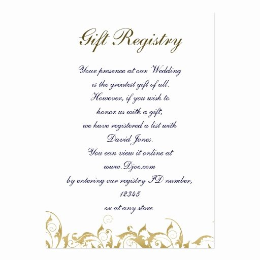 Wedding Registry Cards Template Inspirational Gold Gift Registry Cards Business Cards Pack 100