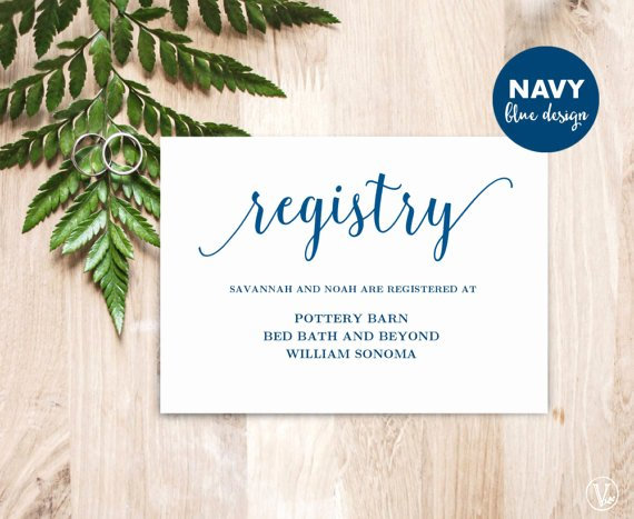 Wedding Registry Cards Template Inspirational Navy Blue Gift Registery Card Template Printable Wedding