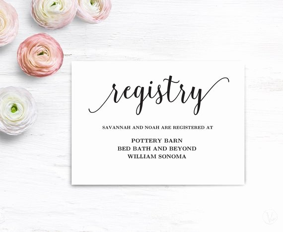 Wedding Registry Cards Template Lovely Gift Registery Card Template Printable Wedding Registry Card
