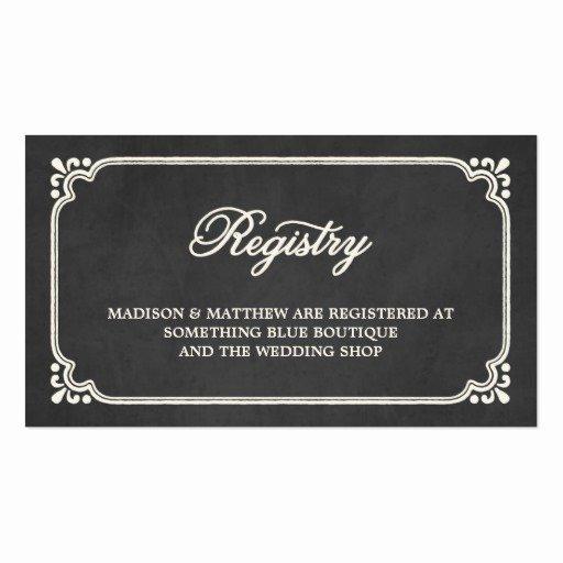 Wedding Registry Cards Template Luxury Chalkboard Union