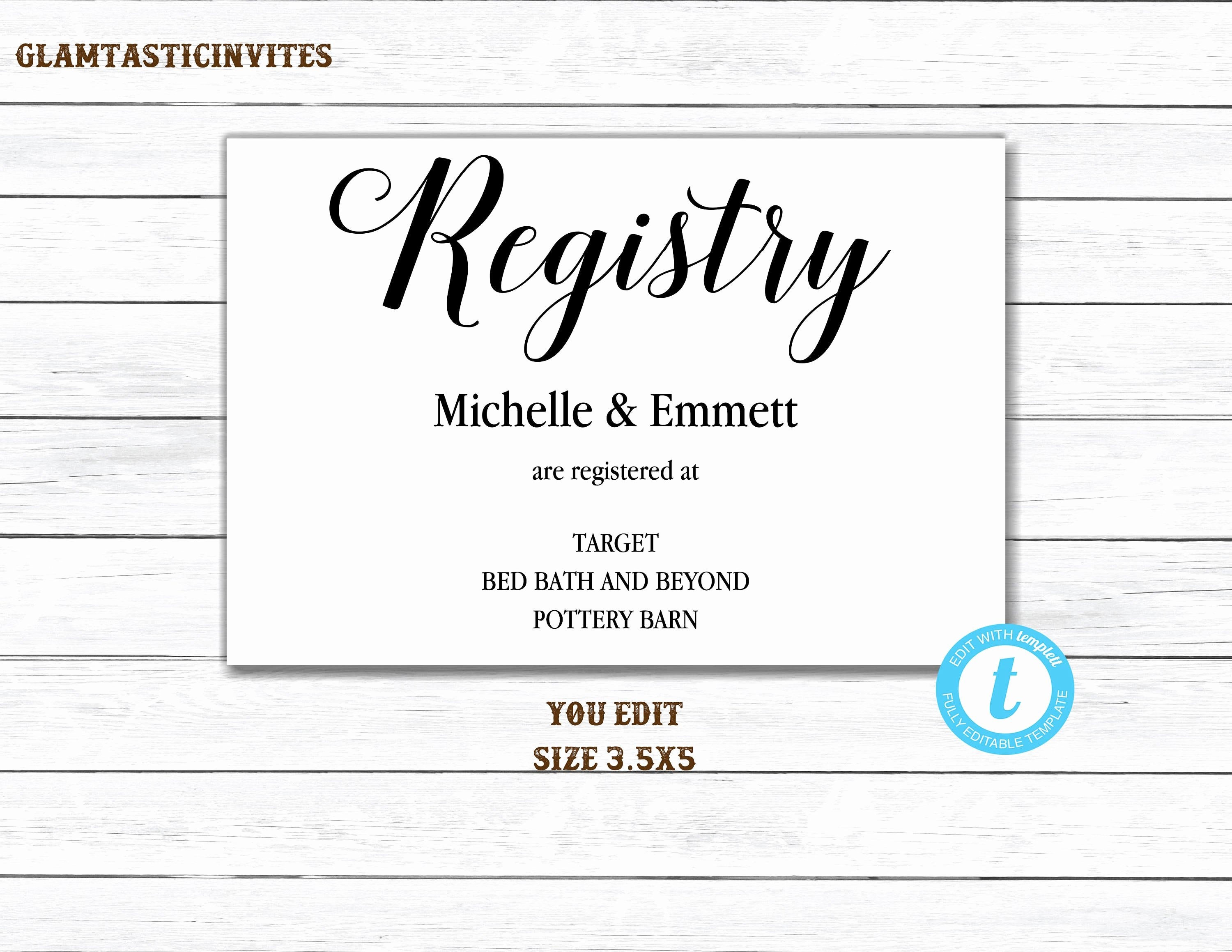 Wedding Registry Cards Template Luxury Registry Card Registry Card Template Printable Registry