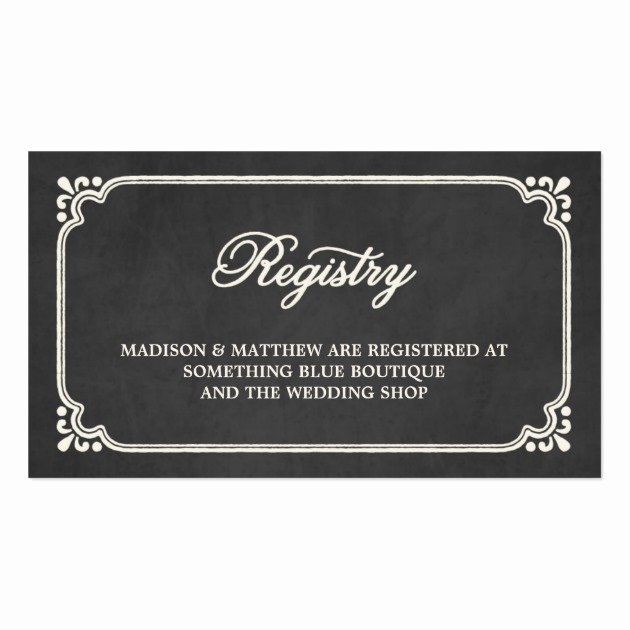 Wedding Registry Cards Template Unique Chalkboard Union