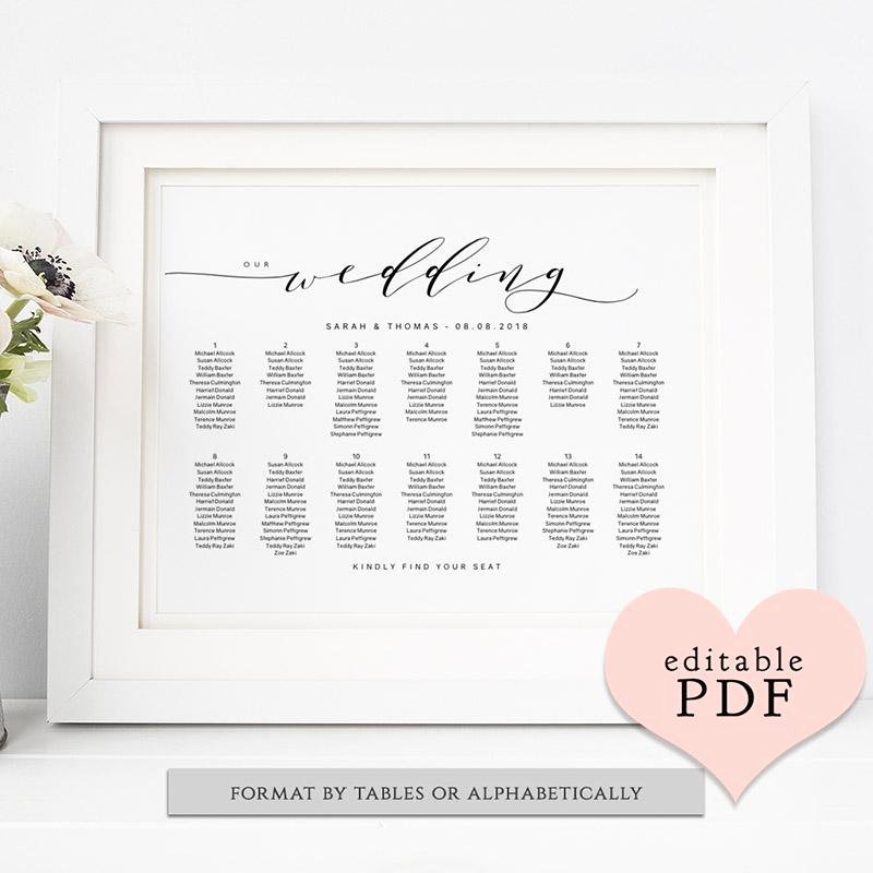 Wedding Seating Chart Alphabetical Awesome Honeymoon Fund Sign Connie & Joan