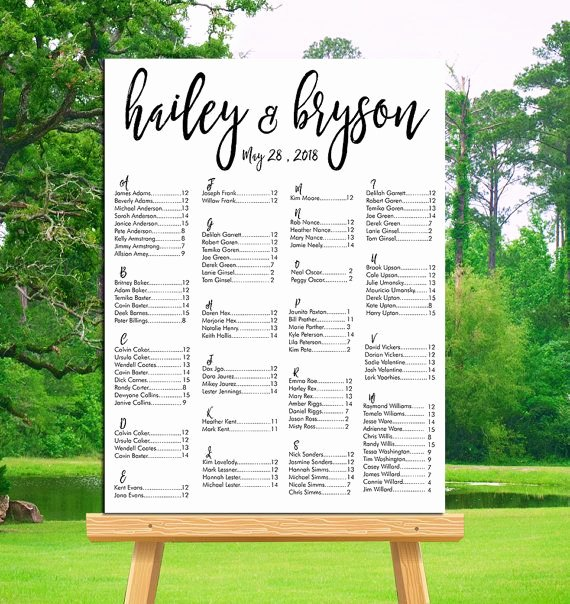 Wedding Seating Chart Alphabetical Best Of Wedding Seating Chart Printable Alphabetical or by Table