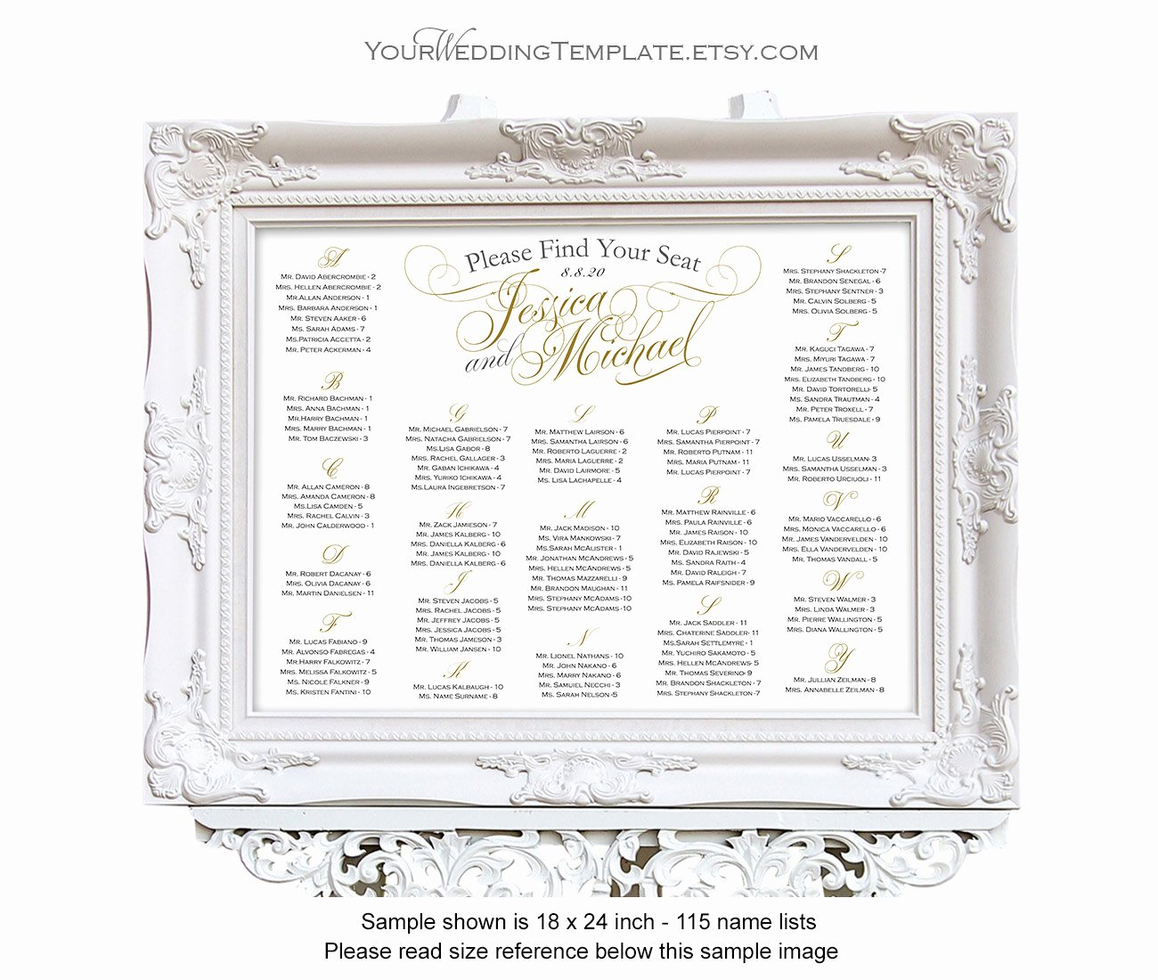 Wedding Seating Chart Alphabetical Elegant Wedding Seating Chart Alphabetical Printable Seating Chart