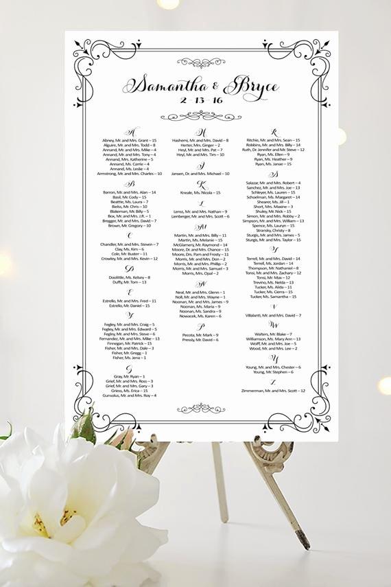 Wedding Seating Chart Alphabetical Elegant Wedding Seating Chart Alphabetical Various by