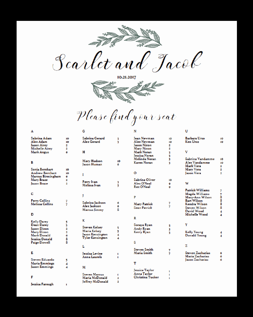 Wedding Seating Chart Alphabetical Inspirational Alphabetical Seating Chart for Greenery Wedding Rb1