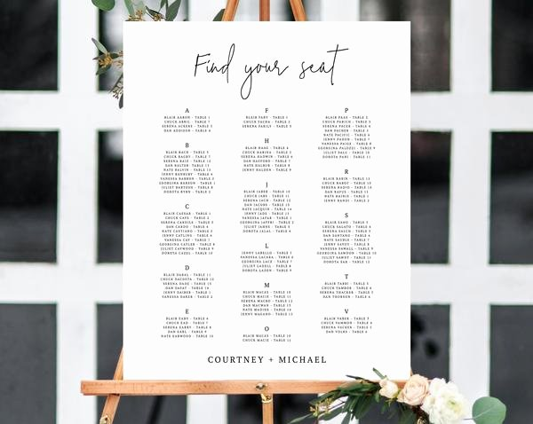 Wedding Seating Chart Alphabetical Inspirational Alphabetical Wedding Seating Chart Template Seating Chart