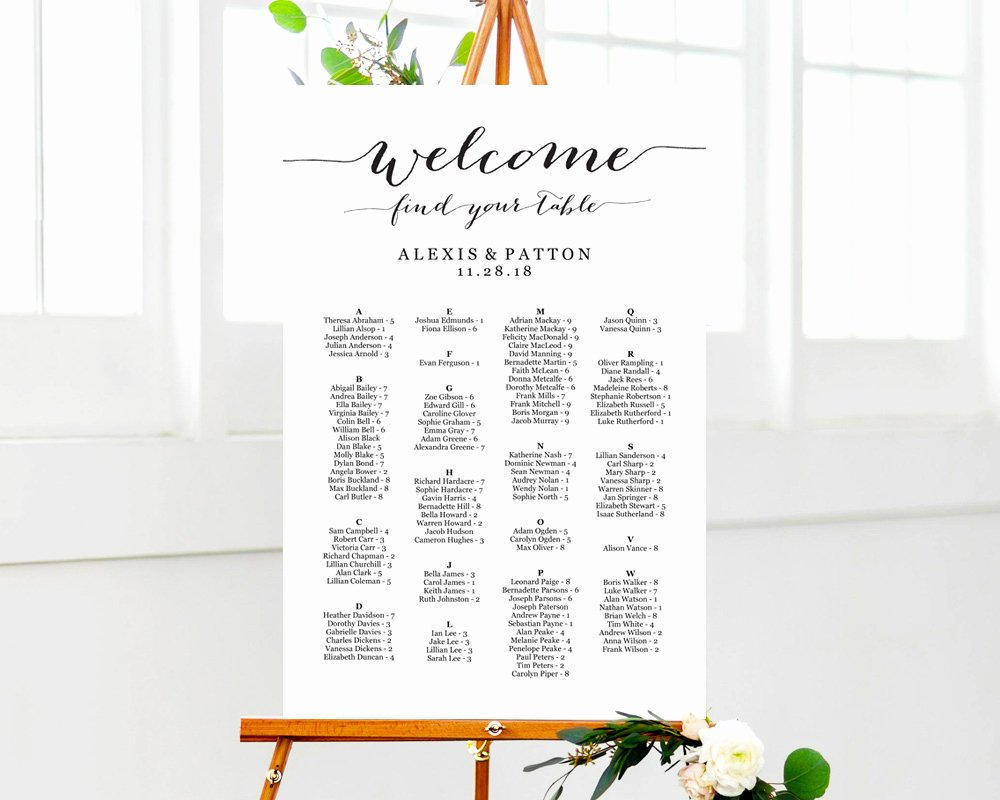 Wedding Seating Chart Alphabetical Lovely Alphabetical Seating Chart Seating Chart Template Wedding