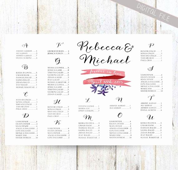 Wedding Seating Chart Alphabetical Lovely Alphabetical Wedding Seating Chart Printable Customized