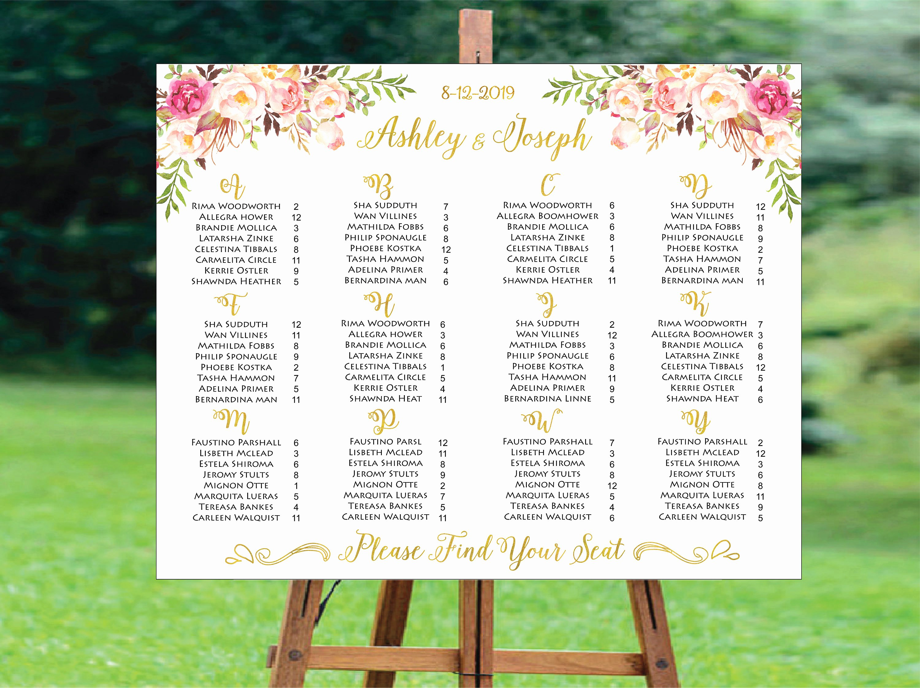 Wedding Seating Chart Alphabetical Lovely Wedding Seating Chart Alphabetical Wedding Seating Chart
