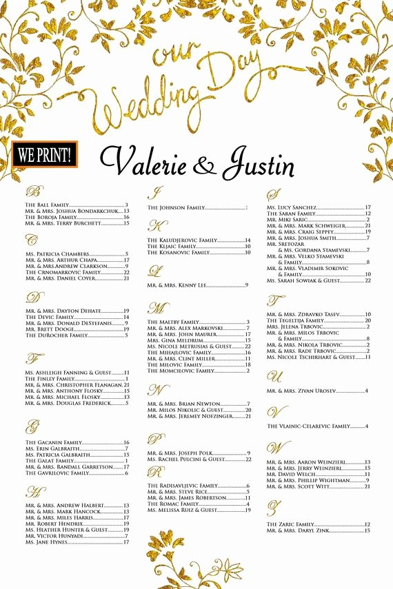 Wedding Seating Chart Alphabetical Lovely Wedding Seating Chart Poster Printed Alphabetical order
