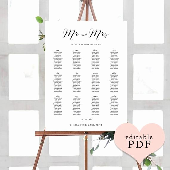 Wedding Seating Chart Alphabetical Lovely Wedding Seating Charts Printable Alphabetical or Table Names