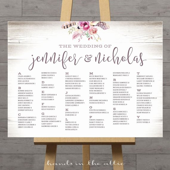 Wedding Seating Chart Alphabetical New Alphabetical Wedding Seating Chart Printable Wedding Seat