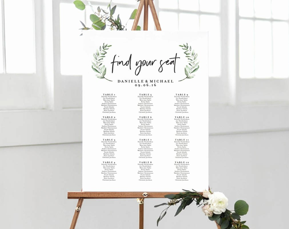 Wedding Seating Chart Alphabetical New Greenery Wedding Sign Seating Chart Sign Wedding Seating