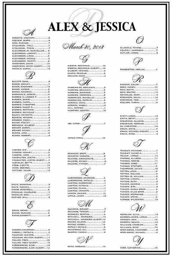 Wedding Seating Chart Alphabetical New Wedding Seating Chart Wedding Seating Reception Template
