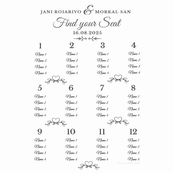 Wedding Seating Chart Template Word Awesome 34 Wedding Seating Chart Templates Pdf Doc