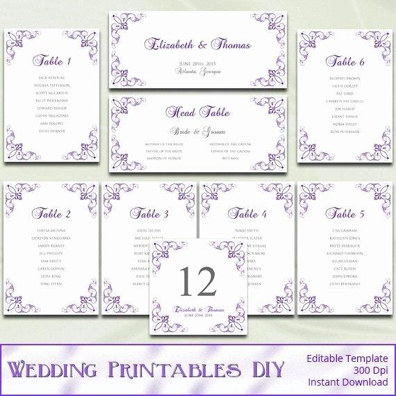 Wedding Seating Chart Template Word Beautiful Items Similar to Printable Wedding Seating Chart Template