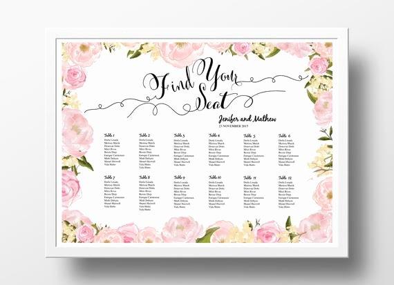 Wedding Seating Chart Template Word Elegant Wedding Seating Chart Poster Template Wedding Table Plan