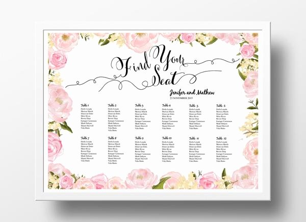 Wedding Seating Chart Template Word Lovely Wedding Seating Chart Poster Diy
