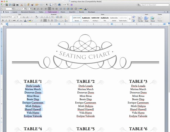 Wedding Seating Chart Template Word Luxury Elegant Diy Table Numbers Seating Chart