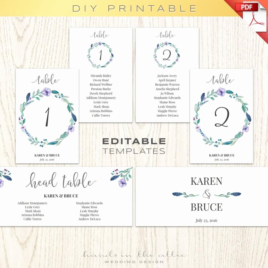 Wedding Seating Chart Template Word Luxury Floral Wedding Table Numbers Printable Template Seating