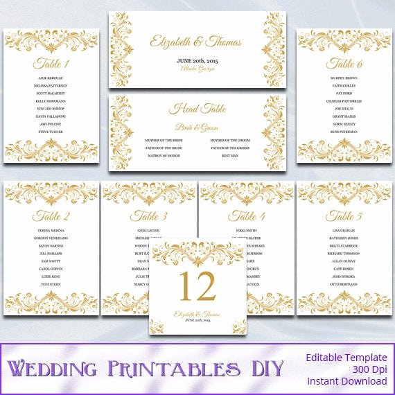 Wedding Seating Chart Template Word New Gold Wedding Seating Chart Template Diy Elegant Reception