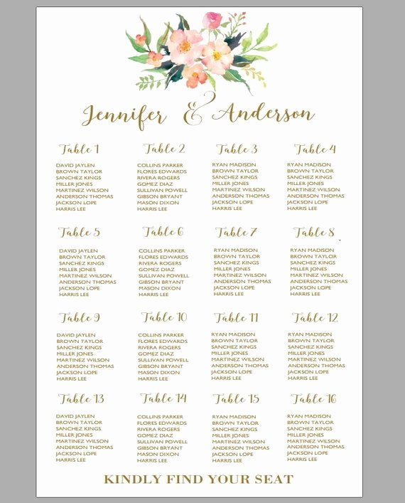 Wedding Table assignment Template Best Of Printable Wedding Seating Chart Template Boho Wedding