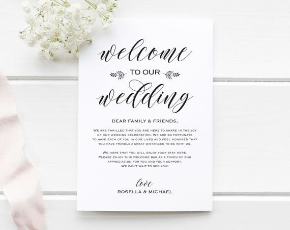 Wedding Welcome Bag Itinerary Template Awesome Wedding Wel E Bag Note Wel E Bag Letter Wedding