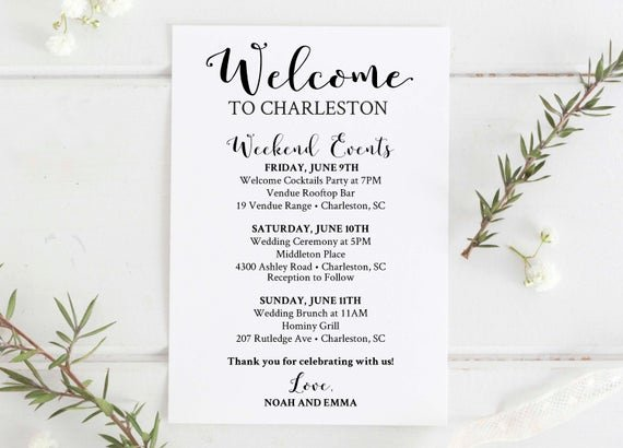 Wedding Welcome Bag Itinerary Template Awesome Wedding Wel E Bag Printable Editable Wedding Itinerary