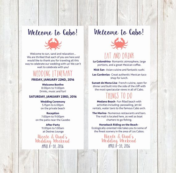 Wedding Welcome Bag Itinerary Template Awesome Wel E Letter Wedding Itinerary Hotel Wel E Letter