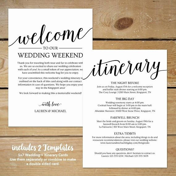 Wedding Welcome Bag Itinerary Template Beautiful Wedding Itinerary Template Printable Wedding Wel E