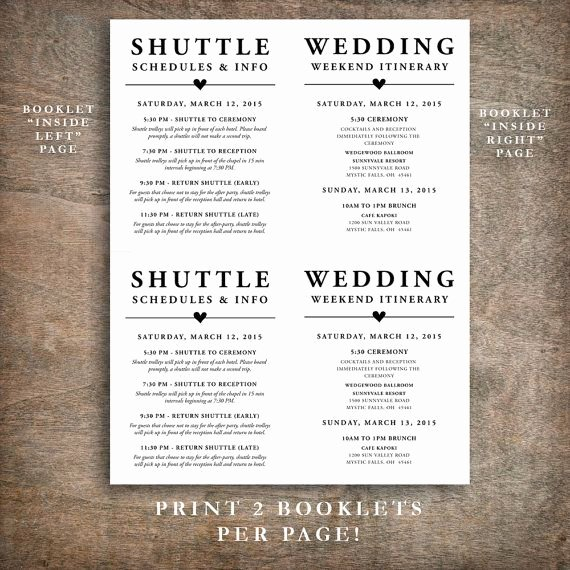 Wedding Welcome Bag Itinerary Template Best Of Printable Wedding Wel E Bag Booklet Note Itinerary